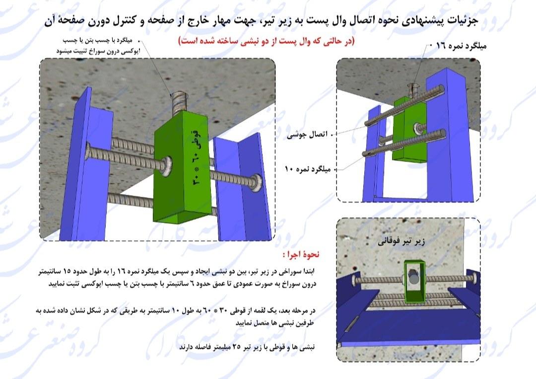 اجرای وال پست میانی با نبشی با رعایت حرکت درون صفحه و مهار خارج از صفحه